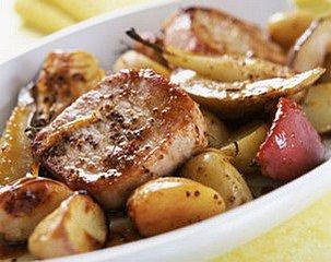ROTI DE PORC AUX DEUX POMMES ET A LA MOUTARDE dans CUISINE GOURMANDE porc2pommes